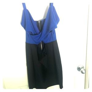 Black and blue mini dress